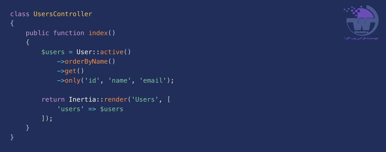 نمونه کد inertia js در کنترلر لاراول